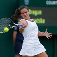 Anna Brogan of Great Britain in her girls singles match on Court 11 during day eight of Wimbledon 2015 at the All England Lawn Tennis Club on July 7th 2015 in Wimbledon (Photo by Tom Jenkins)